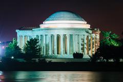 Stock Photo of The Thomas Jefferson Memorial at night, in Washington, DC.