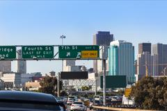 San Francisco city traffic in rush hour with downtown skyline Stock Photos