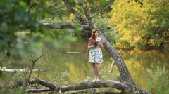 Young girl in the wild Stock Footage