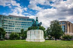 Statue of George Washington at Washington Circle Park, in Washington, DC. Stock Photos
