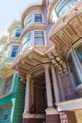 Stock Photo of San Francisco Victorian houses near Alamo Square California