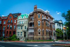 Historic houses at Logan Circle, in Washington, DC. Stock Photos