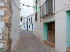 Ain village in Castellon whitewashed facades Spain - stock photo