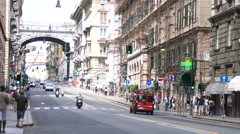 Main street in downtown Genoa, Italy Stock Footage
