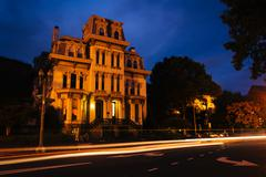 Historic house at Logan Circle at night, in Washington, DC. - stock photo