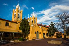Evening light on San Felipe Neri Church, in Old Town,  Albuquerque, New Mexic - stock photo