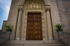 Entrance to the Basilica of the National Shrine of the Immaculate Conception, - stock photo