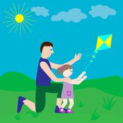 Dad and daughter playing with a kite. Stock Illustration