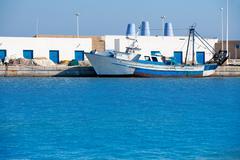 Stock Photo of Altea village in alicante por fishing boat at  Valencian Communi