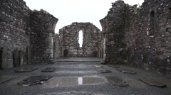 Glendalough 6th Century Church Ireland in the rain Stock Footage
