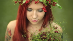 The girl with red hair close up. Stock Footage