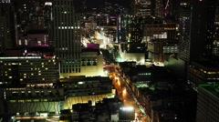 Aerial view of Bangkok at night Stock Footage