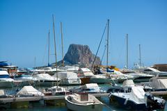 Calpe Alicante marina boats with Penon de Ifach Stock Photos