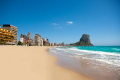 Calpe Alicante Arenal Bol beach with Penon de Ifach - stock photo
