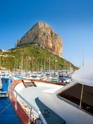 Stock Photo of Calpe Alicante marina boats with Penon de Ifach