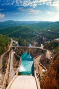 Presa Embalse de Contreras reservoir dam in Cabriel Rive Stock Photos