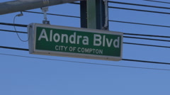 Alondra Blvd Sign in Compton Stock Footage