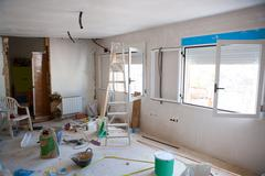 House indoor improvements in a messy room construction - stock photo