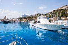 Stock Photo of Javea Xabia port marina with Mongo mountain in Alicante