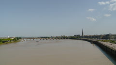 France - Bordeaux Wide View of Pont Pierre Bridge on Garonne River - Zoom In Stock Footage