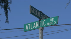 Atlantic Drive and Greenleaf Blvd Sign in Compton Stock Footage