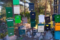 Mailboxes mess in Mediterranean Cabo de san Antonio - stock photo