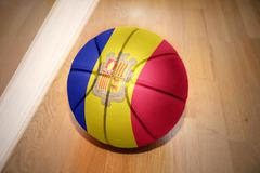 basketball ball with the national flag of andorra - stock photo