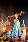 Fallas in Valencia fest figures that will burn on March 19 Stock Photos