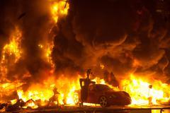 Crema in Fallas Valencia March 19 night all figures are burn Stock Photos