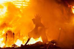 Crema in Fallas Valencia March 19 night all figures are burn - stock photo