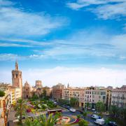 Valencia historic downtown El Miguelete and Cathedral - stock photo