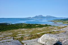 Norwegian sea and mountains - Helgeland - stock photo