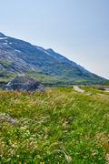 Norwegian fjord mountain landscape - stock photo