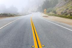 Stock Photo of Foggy road in Calfornia Pacific Highway 1 US 101