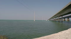 Old and New Seven Mile bridge Stock Footage