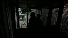 Funicular railway, Cable Car, ride down hill Stock Footage