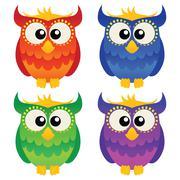 Cartoon owl set - stock illustration
