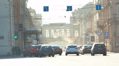 Heavy traffic near Central Post Office in Saint Petersburg, Russia Stock Footage