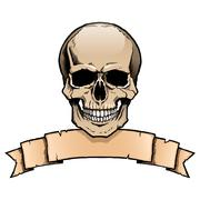 Colored human skull with ribbon banner Stock Illustration