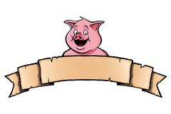 Pig with ribbon banner - stock illustration