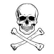 Black/white human skull and crossbones Stock Illustration