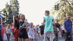 Crosswalk rush hour Stock Footage