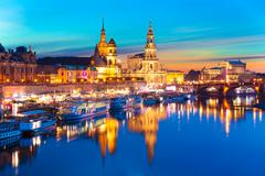 Evening scenery of the Old Town in Dresden, Germany - stock photo