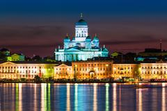 Night scenery of the Old Town in Helsinki, Finland Stock Photos