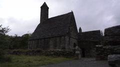 Glendalough 6th century church monastery Ireland Wicklow Stock Footage
