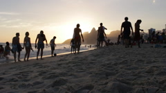 Stock Video Footage of People walking in famous beach of Ipanema in Brazil