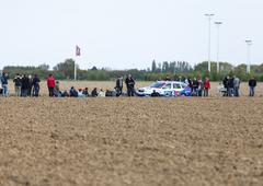The Car of FDJ.fr Team on the Roads of Paris Roubaix Cycling Race - stock photo