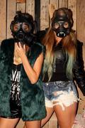 Women with gasmasks - stock photo