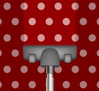 Vacuum cleaner drains red carpet - stock photo