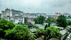 The bird'view of typical old Beijing houses in the rainning day, China. Stock Footage